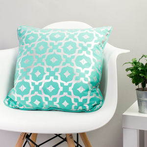 Metallic Cushion In Teal And Silver