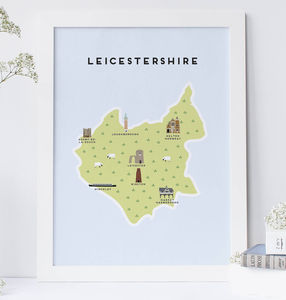 Map Of Leicestershire Print - maps & locations