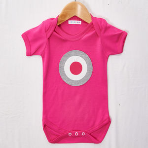 Grey And Pink Front Target Babygrow - babygrows