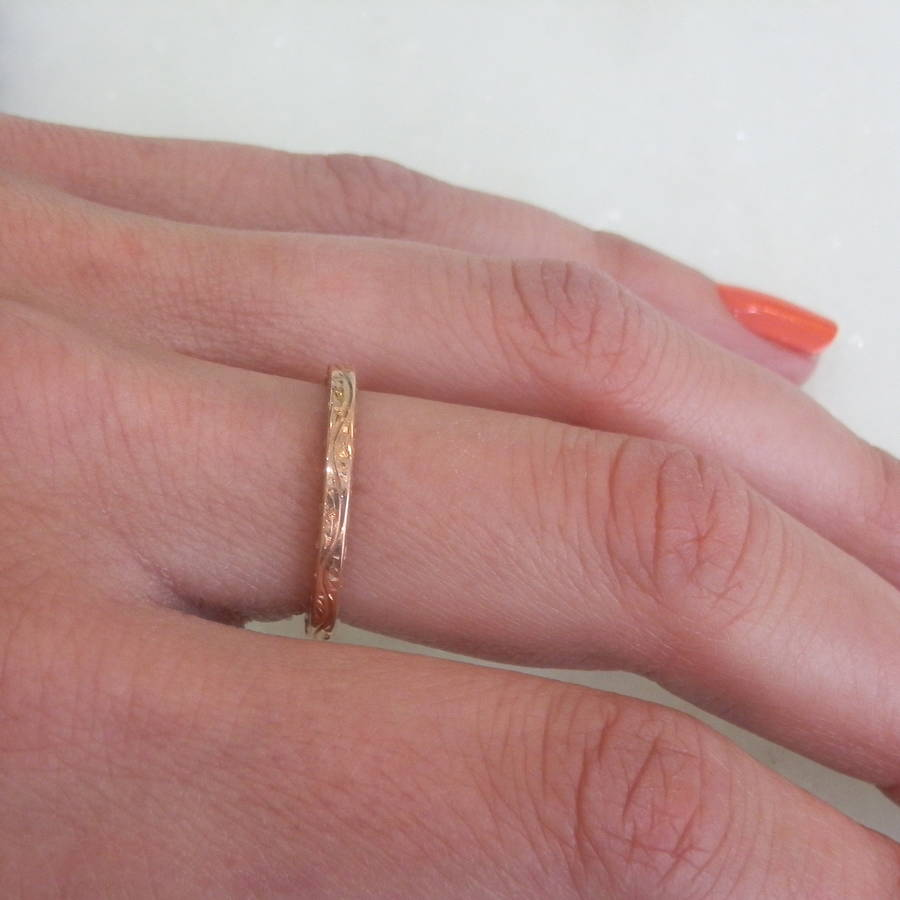 9ct rose gold engraved ring by kirsty taylor goldsmiths ...