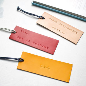 Luxury Personalised Leather Bookmark - bookmarks