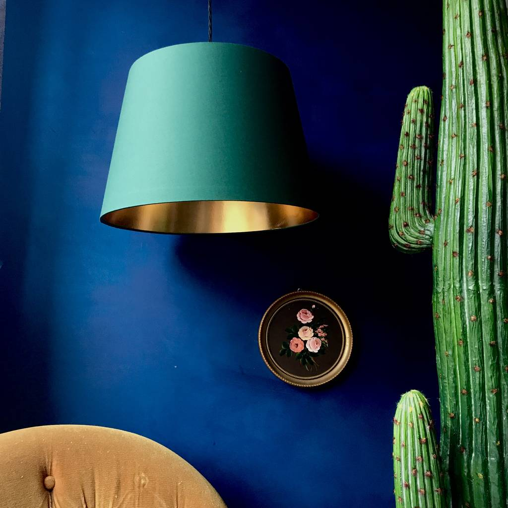 French Drum Lampshade In Green And Metallic Lining