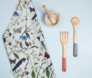 Swallows And Blossom Bird And Floral Tea Towel
