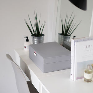 Dove Grey With Rose Supersize Jewellery Box