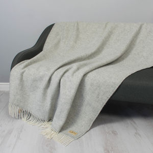 Monogrammed Personalised Herringbone Wool Throw