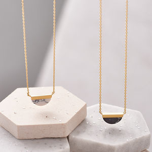 Half Circle Marble Stone Necklace - new season