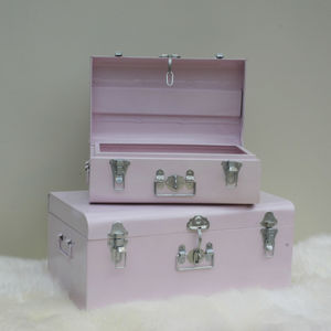 Nesting Pastel Pink Metal Storage Trunks - boxes, trunks & crates