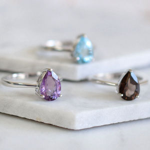 Sterling Silver Teardrop Gemstone Ring - rings