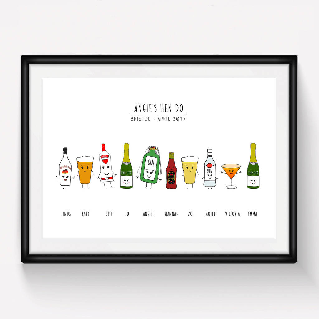 personalised hen do print by of life & lemons | notonthehighstreet.com