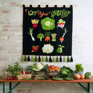 Eat Your Greens Hand Embroidered Wall Hanging
