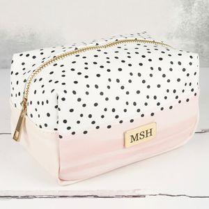 Personalised Pink And Polka Dot Make Up Bag - make-up bags