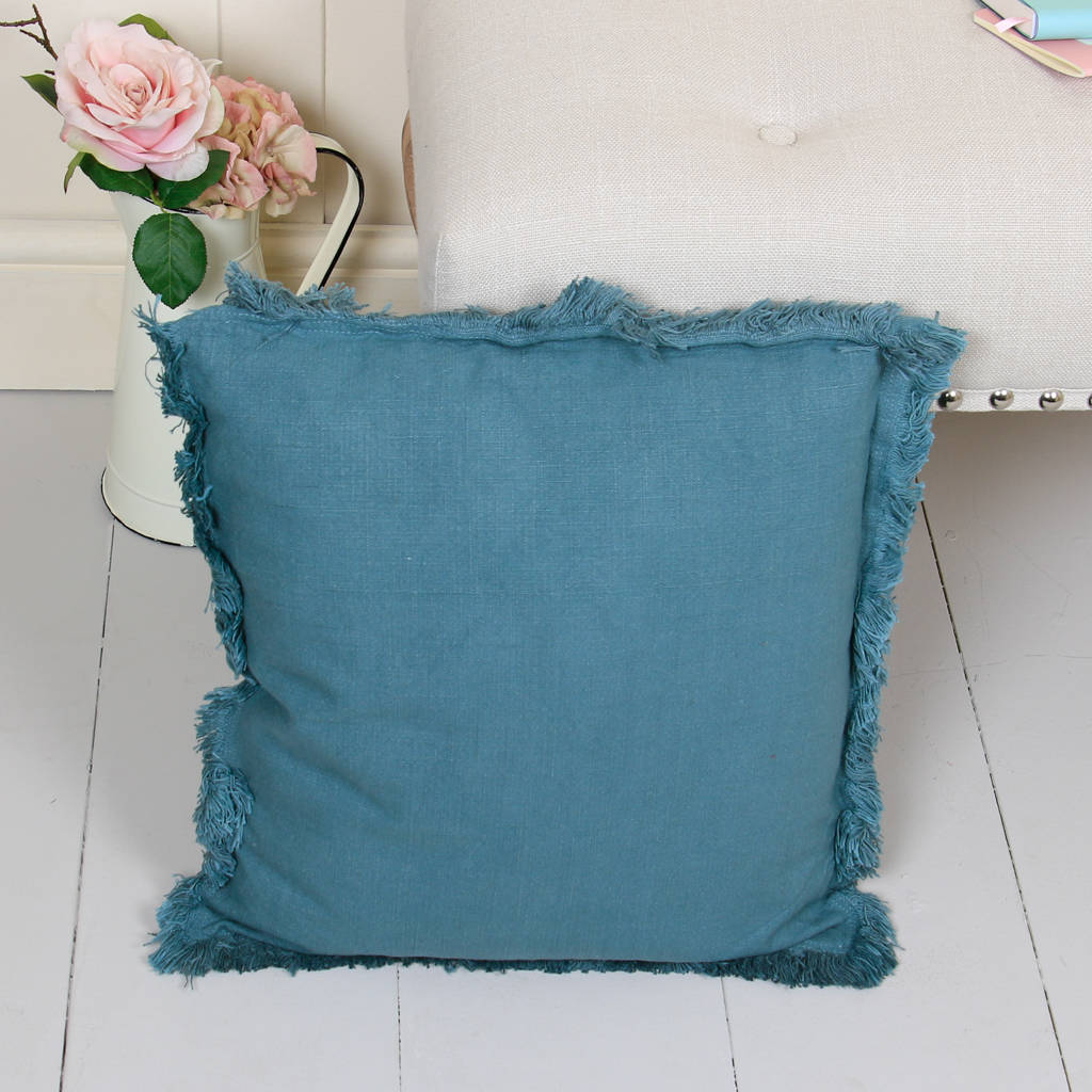Large Teal Green/Blue Fringed Cushion