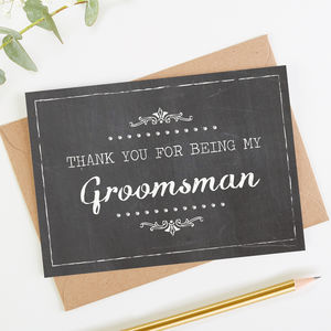 Groomsman Thank You Card Chalk - wedding stationery