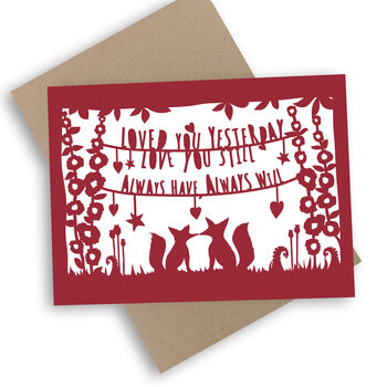 Valentine's Fox Card With Kraft Envelope. Eco Friendly