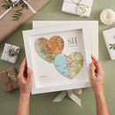 Two Map Hearts Wedding Anniversary Print