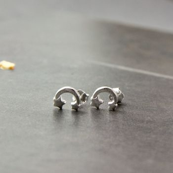 Petite Moon And Stars Sterling Silver Stud Earrings