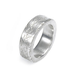 Silver Concrete Ring - rings