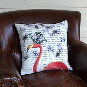 Pink Flamingo Alice In Wonderland Cushion - cushions