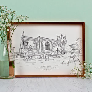 Personalised Wedding Venue Portrait On Paper - prints & art sale
