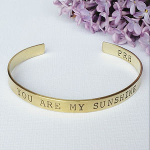 You Are My Sunshine Brass Bangle
