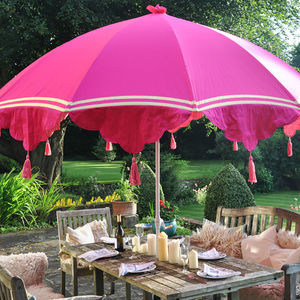 Garden Parasol With Tassels And Ribbons - summer garden