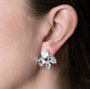 Silver Round And Pear Crystal Earrings