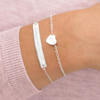 Personalised Sterling Silver Heart And Bar Bracelet Set