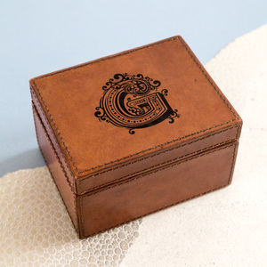 Peronsalised Initial Leather Stud Box
