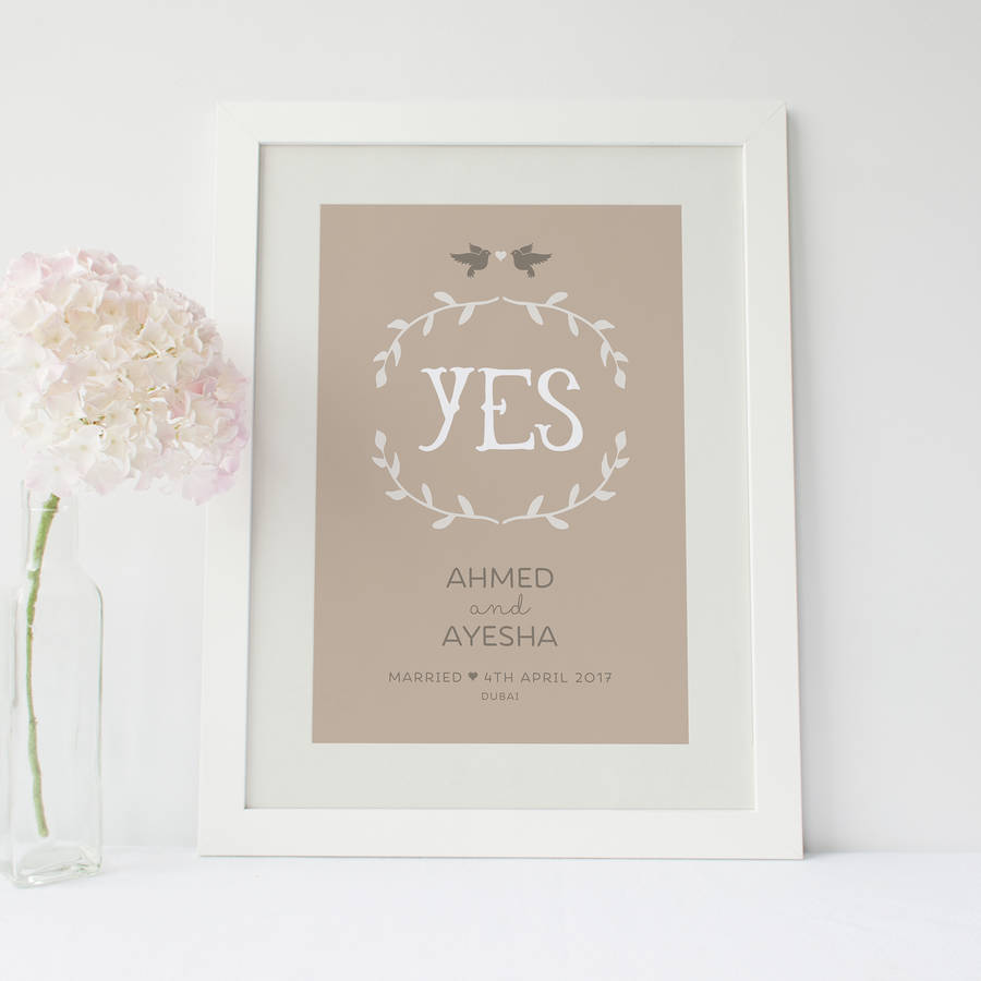 yes\' personalised engagement or wedding print by paperpaper ...