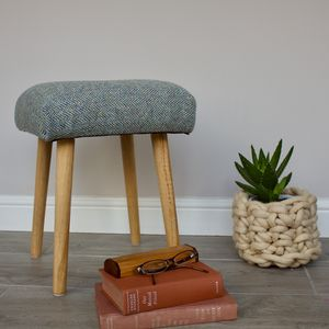 Harris Tweed Stool With Oak Legs - furniture