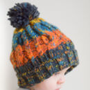 Kids Corkscrew Knitted Bobble Hat