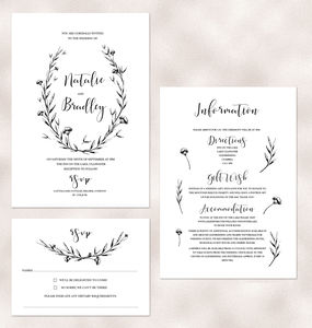 Sweet Nature Floral Calligraphy Wedding Invitation - invitations