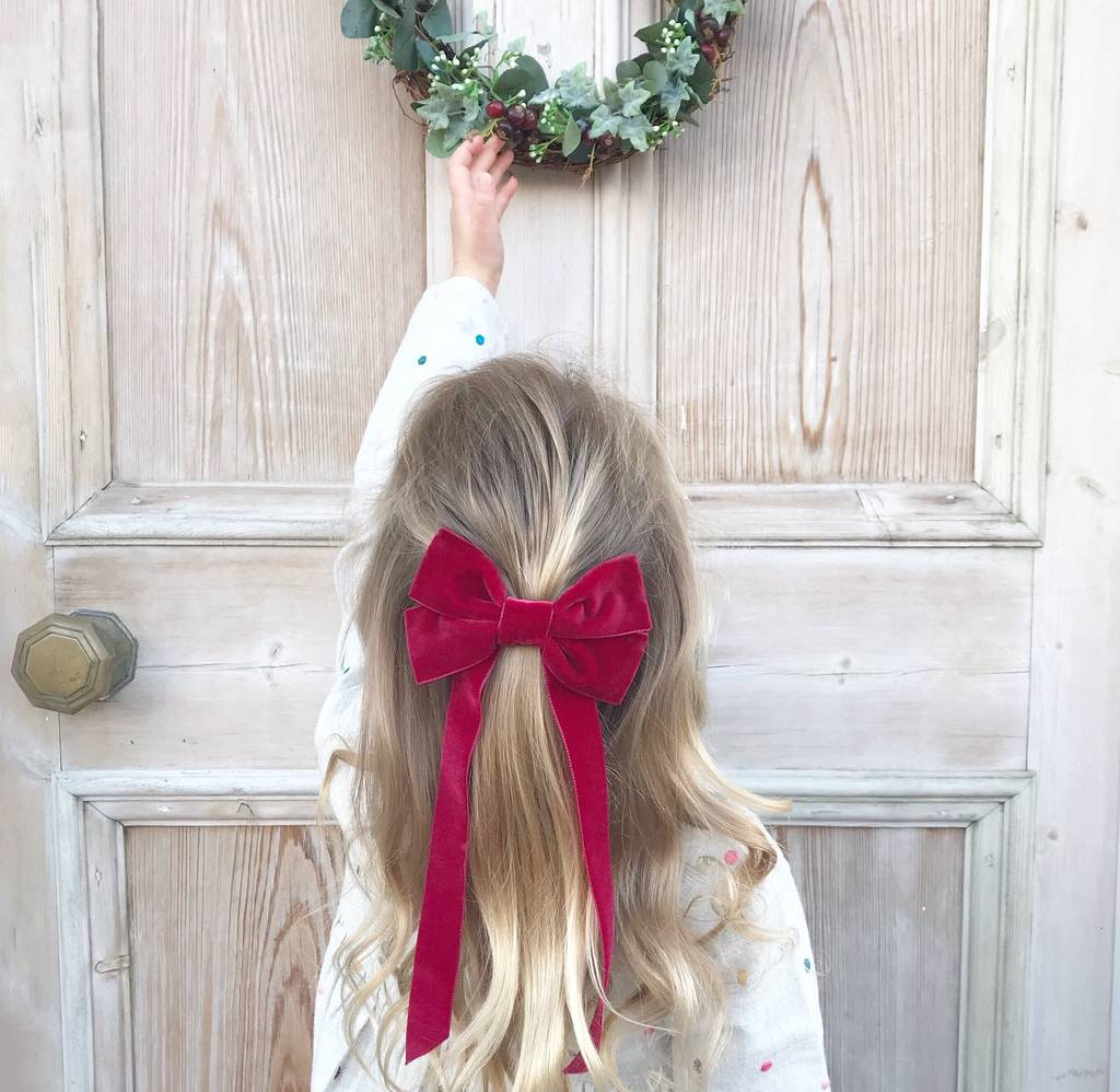 Little Love 'Fable' Red Velvet Hair Bow Barrette