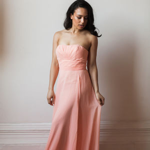 Floor Length Strapless Bridesmaid Or Prom Dress