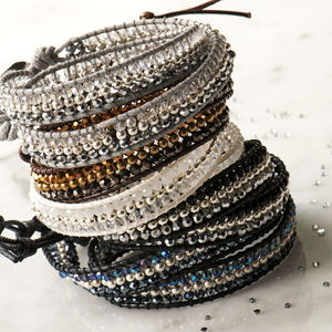 Two Wrap Faceted Beaded Bracelet