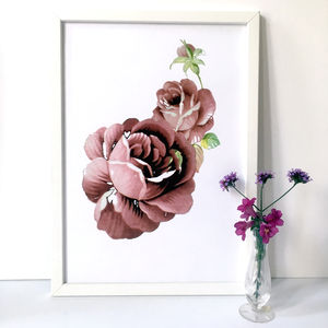 Dusky Pink Roses Floral Art Print A3, A2 And A1 - nature & landscape