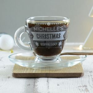 Christmas Personalised Espresso Cup And Saucer