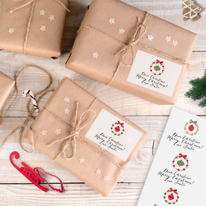 Personalised Christmas Gift Tag Stickers 'Baubles' - shop by category