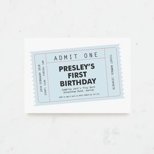 20 Blue Party Ticket Personalised Invitations