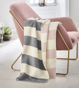 Grey And Pink Reversible Stripe Blanket - bedroom