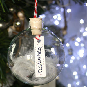 Personalise Christmas Hanging Glass And Cork Bauble - christmas decorations
