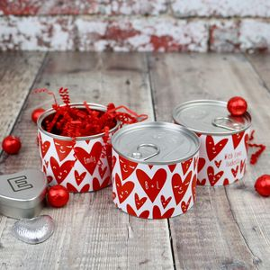 Valentine's Tin Can With Chocolates And An Extra Gift