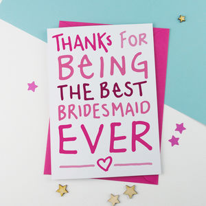 Thank You Card For Bridesmaid - weddings sale