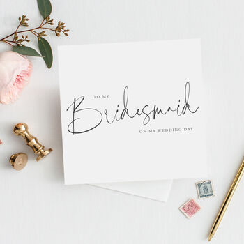 Modern Text Bridesmaid Card |Maid Of Honour|Flower Girl