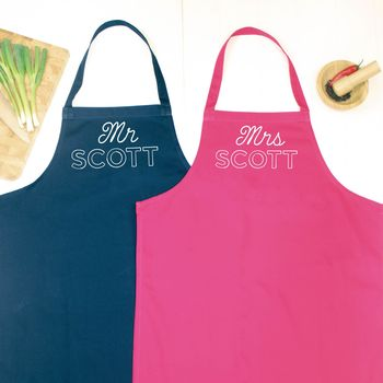 Mr And Mrs Personalised Apron Set Retro Style