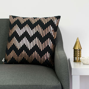 Metallic Zig Zag Cushion In Black And Copper