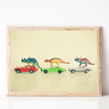 Dinosaurs Ride Cars Retro Print For Kids