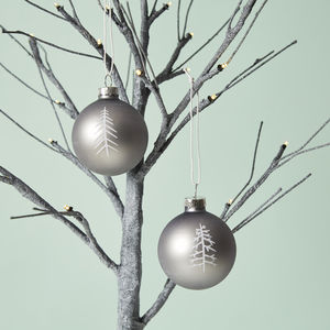 Grey Matt Illustrated Baubles Set