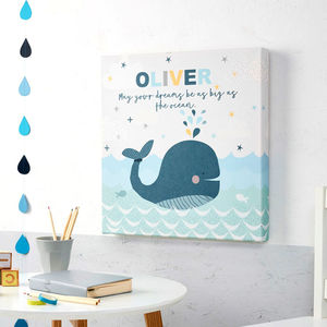Children's Personalised Whale Canvas Picture