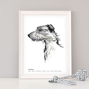 Personalised Lurcher Art Print - pet portraits